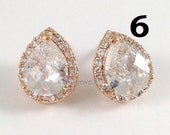 10% OFF Set of 6 Pairs Rose Gold Cubic Zirconia Earrings - Pink Gold CZ Teardrop Sparkling Stud Earrings Wedding Bridesmaids Prom Earrings