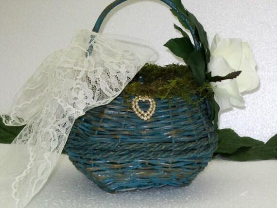 Flower Girl Basket Moss : Wedding flower girl basket moss flowers bridal by
