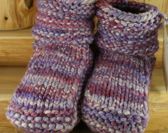Foxglove Meadows Hand Spun/Hand Dyed/Knit Sheepskin Soled Booties 18-24 Months