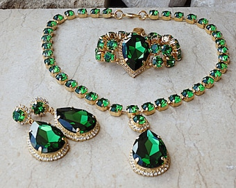 Emerald Jewelry Set, Gold Green Swarovski Set, Gold Bridal Gift, Bridal Jewelry Set, Green Drop Shape Jewelry Set, Evening Women Jewelry Set