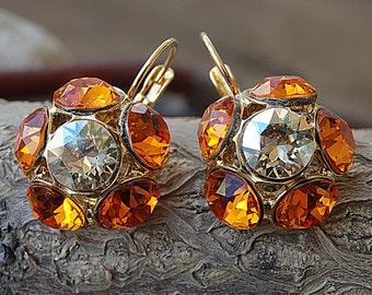 Tangerine Halo Earrings, Gold & Orange Swarovski Crystal Earrings, Flower Earrings, Tangerine Crystal Drop Earrings, Bright Orange Dangles