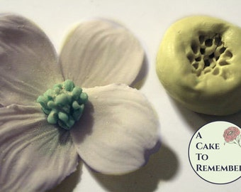 Silicone Mold for small dogwood or flower center- cake or cupcake decorating supplies, flower veiner, gumpaste flowers M033