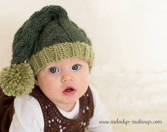 Stocking Cap Knitting Pattern - Stocking Hat Pattern - Baby Stocking Cap - Cable Knit Pattern - Holiday Hat Pattern - Adult Stocking Cap