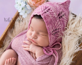 Knit Newborn Baby Bonnet Pattern ~ Baby Prop Bonnet Knitting Pattern ~ Knit Baby Bonnet Pattern ~ Newborn Photo Prop Bonnet Knitting Pattern