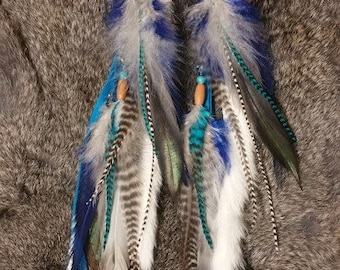 Natural Rooster Saddle Feather Doe Hide Leather and Rabbit Fur Star Beetle Wing Earrings - Long and Beaded