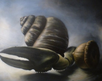 Still life with acorn, oil painting, original Oil painting, Oil on canvas, Acorn painting, still life