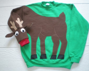 Rudolph the Red Nosed Reindeer sweatshirt, deer shirt, KIDS Christmas sweater, Christmas sweatshirt, childrens small or large only, green