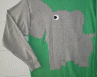 Long sleeve elephant shirt, emerald green heather,green shirt, adult sizes, large, xlarge, elephant trunk sleeve, elephant t-shirt