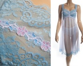 Gorgeous romantic extremely sheer flimsy floaty soft powder blue nylon and delicate lace detail 1960's vintage mid-length nightdress - 3534