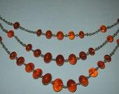 uNIQUE aNTIQUE 1930's nATURAL BALTIC Cognac AMBER Beads NECKLACE - 51,1 gr