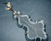 "Old Vintage Clear Crystal Glass Tear Drop Lamp Prism Center piece2 parts 5 1/4"""