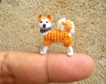 Miniature Akita  - Tiny Crochet Mini Amigurumi Dog Stuff Animal - Made To Order