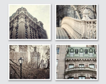 New York City Prints or Canvas Wraps, New York City Wall Art, NYC Print Set of 4, 20% Off NYC Art, Grey Photography, NYC Wall Gallery Set.