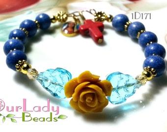 Rosary Bracelet One Decade,Turquoise Rosary Bangle,Religious Beaded Bracelet,Catholic Bracelet,Religious Gift,Bridal,Confirmation Gift,1D171