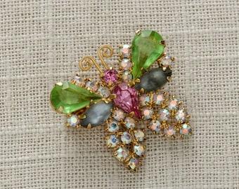 Crystal Butterfly Vintage Pin Pastel Rhinestones Novelty Insect Brooch Pink Green Blue   Multi Color Stones   Vintage Diehls   Vtg Pin 15G