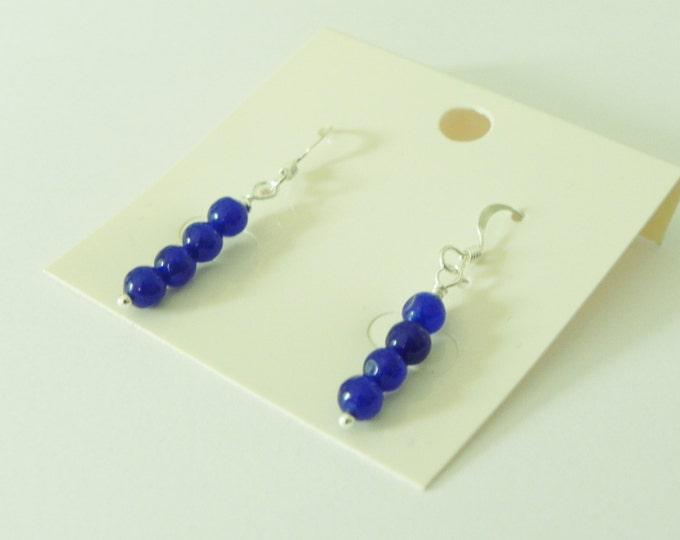 Dark blue quartz gemstone sterling silver drop earrings|Royal blue gemstone|blue gemstone earrings|blue quartz drop earrings