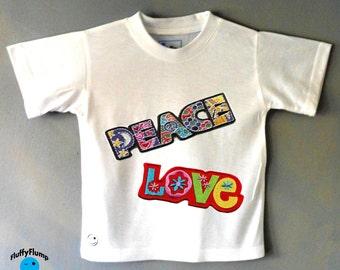 Peace & Love kids t shirt. Childrens clothing. Retro kids t shirt. Retro kids fashion.