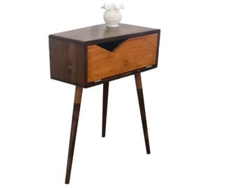 Mid Century Inspired Trapezoid End Table / Nightstand