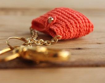Key holder - Crochet purse keychain - Coral purse key chain - Crochet mini bags - Women's accessories