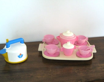 1982 Fisher Price Tea Set Pink and 1987 Whistling Tea Kettle w/Tea Bag