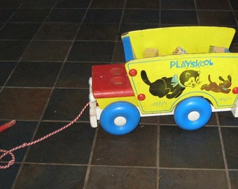 VIntage  1960's Playskool Wagon with Wooden Blocks