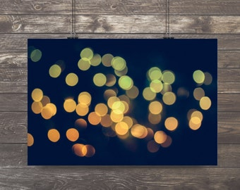 Bokeh,Abstract Photography,golden lights,mesmerizing,soft shades of teal and turquoise,glowing light,calming print,zen,abstract decor,unique