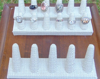Ring Display Burlap Ring Display Ring Holder Ring Organizer Vendor Display Case Finger Stand Linen Ring Display