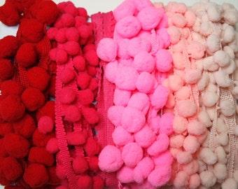 Ballerina Color Scrap Pack, PomPom Trim, Beautiful Colors, End of Rolls, Stash Builder