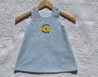 Girls Gingham Dress, Jumper, Fishing Lure, Wholesale, blue check, Appliqué, monogram available, girls fishing,fish,Sailboat, made in the USA