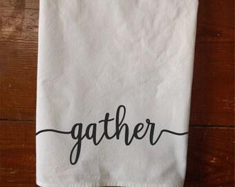Personalized Tea towel address gather flour sack