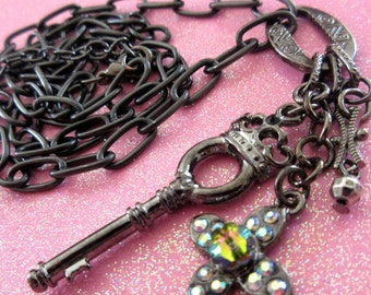 Viva Black Necklace Black metal charms, Key, Rhinestone Flower, OOAK, Free Shipping
