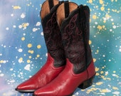 ARIAT Red & Black Cowboy Boots Women's Size 8 .5 B