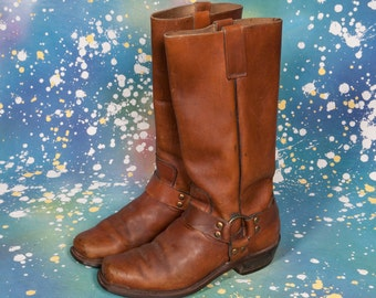 Brown 1970's MOTORCYCLE Boots Men's Size 8 1/2 D