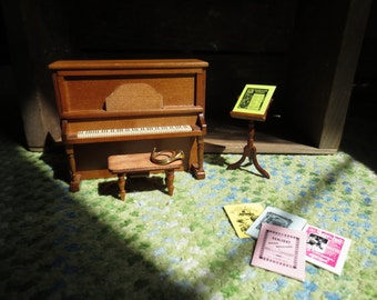 Miniature Dollhouse Piano Sheet Music Hunting Horn Music Stand Upright French Horn Vintage Furniture Conservatory Music Room Set Jazz