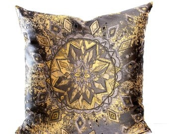 Gold Pillow Cover Brown Pillow Diamond Celestial Sunburst Decorative Pillow Throw Pillow Cover Euro Sham 26x26 24x24 22x22 20x20 18x18 16x16