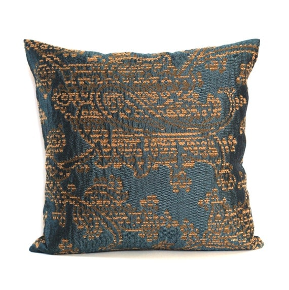 Peacock Blue Brown Chenille Upholstery Decorative Throw Pillow