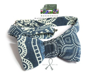 self tie, Men's bow tie / beautiful cotton denim fabric / cotton freestyle - adjustable - just bowties for men from Bagzetoile