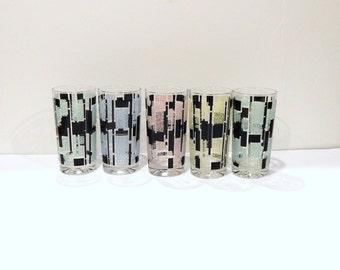 Vintage Mod Tumblers - Mondrian Glasses - Textured Glasses - Pastel Glasses - Mid Century Mod