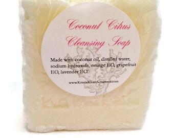 NOW with Lavender Essential oil! Coconut Citrus Soap,Shampoo,  Hot Process, soap from scratch, orange, grapefruit, coconut oil, fresh soap