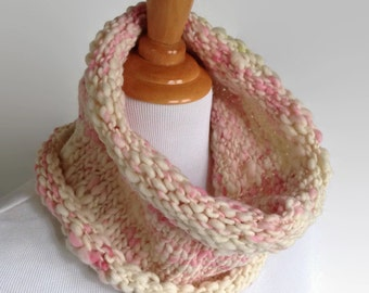 Chunky Knit Pink Wool Neckwarmer, Merino Scarf, Adult Women Scarf, Women Winter Scarf, Winter Neckwarmer, Pink and White Scarf