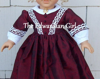 OOAK cranberry and lace silk dupioni vintage lace Victorian era holiday dress. Fits American Girl, Springfield, Our Generation. Made in USA
