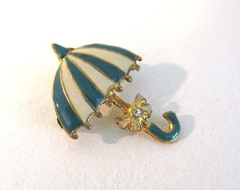 Sweet Vintage 1950's Enameled UMBRELLA Pin/Brooch