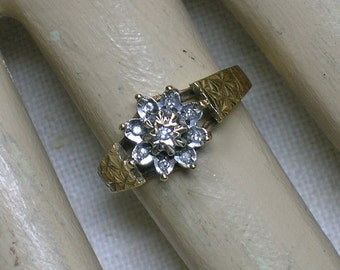 English Diamond Ring, 9K Starburst Flower Cluster. Retro Modern Design, 1980s. Size 5