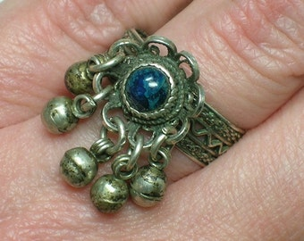 Silver Filigree Ring: Ethnic Flower with Dangles, Blue Stone. Boho Tribal. Size 6