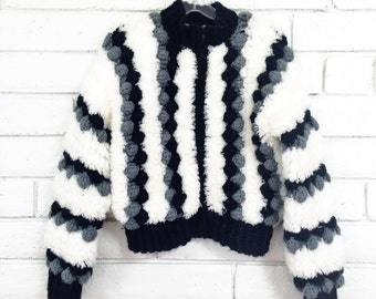 80's CHUNKY SWEATER BOMBER amazing vintage popcorn knit black white zipper jacket Sm