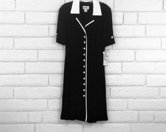 80's ROCKABILLY SECRETARY DRESS vintage black white button front drapey rayon M 8 deadstock nwt