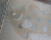 Holiday Fish Pillow - Designer Pillow - Beach House Decor - Creme Pillow - Silver Pillow - Beige Pillow - Fish Pillow - Neutral Pillow