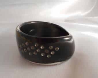 Acrylic Lucite  Black Rhinestone Tapered Bangle Vintage Estate Jewelry Chunky Wide Retro Runway Statement Bracelet Costume Jewelry