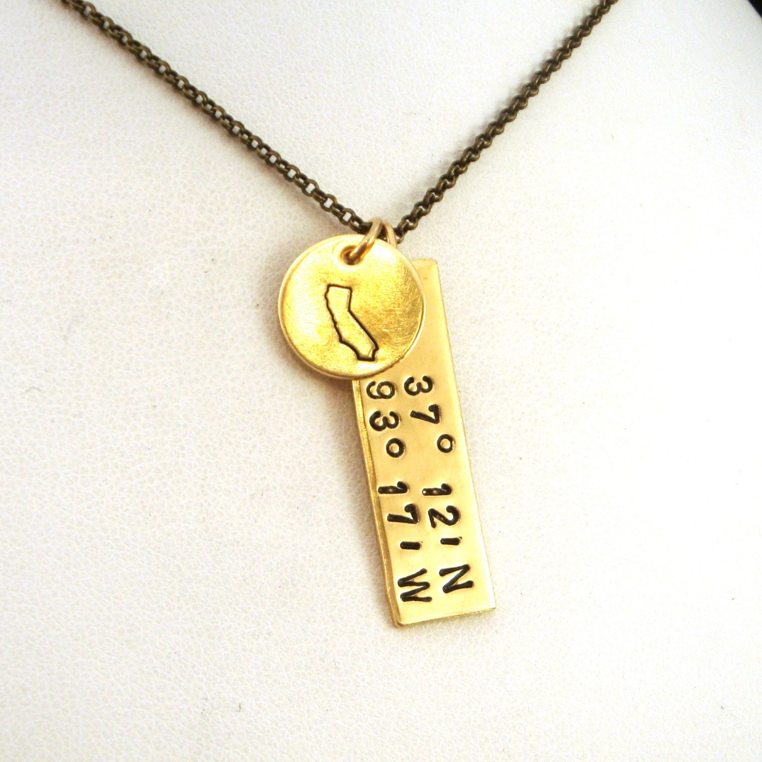 Gps Coordinates Necklace: California GPS Coordinates Necklace California State Brass