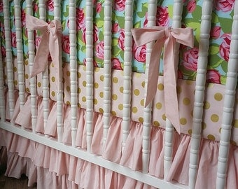 Girl Crib Bedding- Rose Baby Bedding- Gold Bedding- MADE to ORDER- Girl Baby Bedding- 3 piece Crib Bedding Set- Pink and Gold
